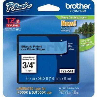 BROTHER TZ LAMINATED TAPE BLACK ON BLUE 0.7 IN X 26.2 FT